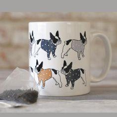 French Bulldogs Ceramic Mug. Repeating Frenchie Design Mug. Katy Ferrari Mug