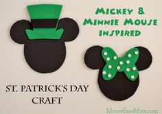 Looking for a simple St. Patrick's Day themed craft to make with your little Mouseketeer? These oversized Mickey and Minnie magnets are perfect!