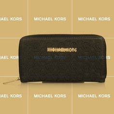Michael Kors Logo Perforated Large Black Wallets Shows Your Real Life And You Will Enjoy Your Life!