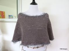 Grey Short Circle Poncho, Hand crochet poncho with faux fur trim, gift for her