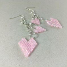 Pale pink earrings Pink heart earrings Chain earrings by Galiga