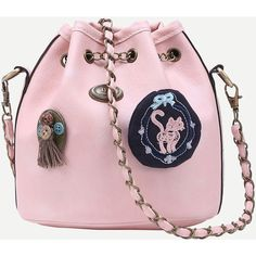 Pink Drawstring Chain Bucket Bag With Vintage Charm (65 RON) ❤ liked on Polyvore featuring bags, handbags, shoulder bags, pink, pink handbags, drawstring purse, bucket bag, drawstring bucket bag and vintage purses