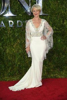 Helen Mirren in a white Badgley Mischka dress with a sheer silver capelet. Tony Awards 2015