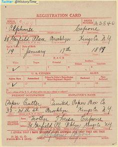 World War I Draft Registration Card for Alphonse (Al) Capone.