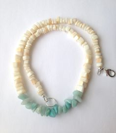 Beach Necklace, Gemstone Beaded Necklace, Amazonite and Mother of Pearl, Beautiful Blue and Cream Colored Chips and Nuggets by ZhiJewelry on Etsy https://www.etsy.com/listing/223470771/beach-necklace-gemstone-beaded-necklace