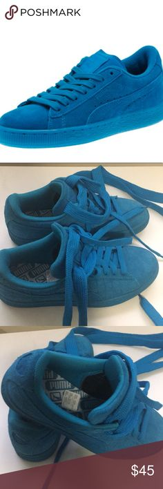 Puma Iced Suede Blue/Turqoise Jr Sneakers Bright blue puma sneakers. I noticed a loose thread (I think it's only one) and took a pic of it. That is on the wider shoe lace that is by the tongue. I think it might work for both genders. New without tags or box Puma Shoes Sneakers