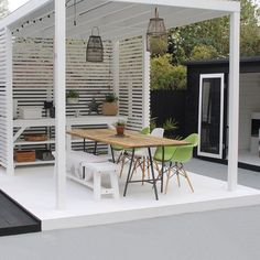 Indoor Outdoor Living, Outdoor Decor, Butler Sink, Outside Bars, White Paints, Sun Lounger, Outdoor Furniture Sets, Pergola, Ikea