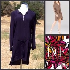 """DIANE VON FURSTENBERG SHIRT DRESS Beautiful DVF high low drop waist shirt dress. 100% rayon. Size 2. The front length measures 33"""" and the back 39 inches. 38"""" bust and the sleeves are 25"""". Dry clean only. In Like new condition. No trades or PayPal. Thanks for stopping by @treasuresbytrac  Diane von Furstenberg Dresses"""