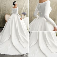 Vintage / Retro Ivory Satin Winter Wedding Dresses 2019 Princess Scoop Neck Long Sleeve Chapel Train Ruffle Popular 2019 Summer Beach Wedding Dresses Off The Shoulder A-line Lace Tulle Bridal Gowns Lace Beach Wedding Dress, Western Wedding Dresses, Princess Wedding Dresses, Modest Wedding Dresses, Wedding Gowns, Wedding Frocks, Ceremony Dresses, Wedding Tips, Sleeve Wedding Dresses
