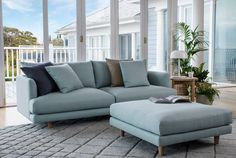 A modern and refreshing seaside twist on this slim lined beauty // The Santa Monica Petite featuring Drift fabric in Mint. Find the full range on our website. Link in bio #takemetothewestcoast #sofa #lounge #couch #scandi #coastal #mint #fabric #linen #ottoman #santamonica