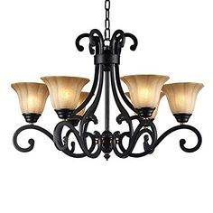 LNC Traditional Chandelier 6light Black Antique Pendant Lighting for Dining Room Living Room Restaurant Bedroom * Want to know more, click on the image. (Note:Amazon affiliate link)