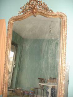 174x86 grand miroir ancien louis philippe dore a la for Grand miroir mural baroque