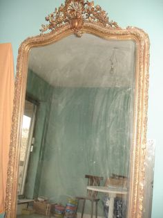 174x86 grand miroir ancien louis philippe dore a la for Grand miroir mural alinea