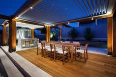 This beautiful contemporary backyard entertaining space and pool area of a home located in Perth, Australia was re-designed by Ritz Exterior Design. Outdoor Areas, Outdoor Rooms, Indoor Outdoor, Outdoor Decor, Outdoor Dining, Outdoor Furniture, Interior Exterior, Exterior Design, Pergola Aluminium