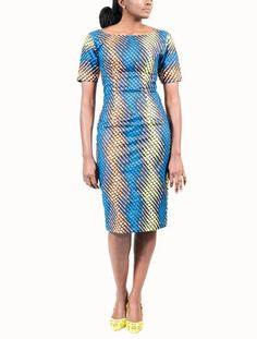 2c5624224eeba Shift dress in Colette electric blue print