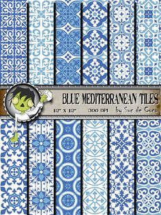 Digital Paper MEDITERRANEAN TILES Collection For scrapbooking by SUCDECOCO, €3.00