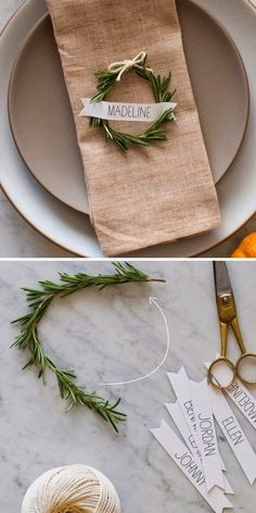 Large Free Rosemary Wreath Place Cards 25 DIY Winter Wedding Ideas with . - Large Free Rosemary Wreath Place Cards 25 DIY Winter Wedding Ideas on a Budget Homemade Christmas Decorations, Winter Wedding Decorations, Christmas Diy, Winter Weddings, Christmas Design, Holiday Decorations, Xmas, Christmas Wedding Centerpieces, Christmas Settings