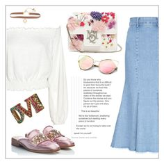 """""""Denim skirt"""" by frenchfriesblackmg ❤ liked on Polyvore featuring FLOW the Label, Alexander McQueen, RAS, Lonna & Lilly and Gucci"""
