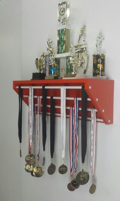 Trendy Trophy Display Orange for trophies & medals. medal display, trophy display, gymnastics medals, running medal holder, dance medals