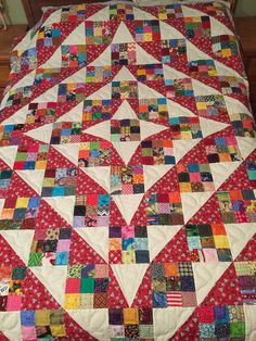 How beautiful but simple (not my design). Nine-patches and half square triangles . . . Love Scrappy quilts! Scrappy Quilt Patterns, Scrappy Quilts, Quilt Blocks, Patchwork Quilting, Quilting Ideas, Nine Patch Quilt, String Quilts, Easy Quilts, Square Quilt