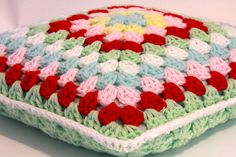 Lovely colors crochet pillow shabby chic style por ooty en Etsy