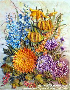 """Купить """"Осенний вальс"""" - авторская картина, подарок, букет цветов, георгины, монтбреция, дильфиниумы"""