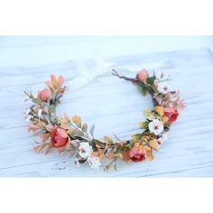 Fall flower crown headband, coral and cream flower crown, headband,... (270 SEK) ❤ liked on Polyvore featuring accessories, hair accessories, floral crowns, boho headbands, floral garland, bridal crown and flower garland