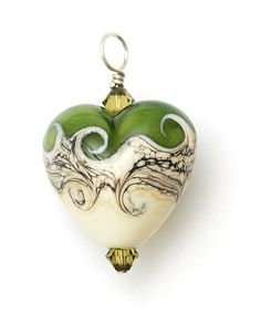 Handmade Glass Lampwork Bead - HP-11810205 Heart Pendant - Sterling Silver Findings - Swarovski crystals - Dark Green w/Dark Ivory