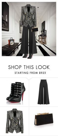 """Untitled #670"" by kristina-lindstrom ❤ liked on Polyvore featuring Christian Louboutin, Valentino, Balmain and Jimmy Choo"