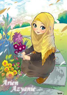 Arein Azyanie by saurukent on DeviantArt Muslim Images, Hijab Drawing, Islamic Cartoon, Bff Drawings, Image Citation, Hijab Cartoon, Islamic Girl, Digital Art Girl, Muslim Girls