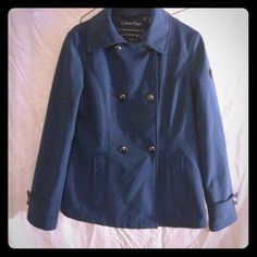 CALVIN KLEIN WATERPROOF BREATHABLE SHELL SIZE S Water resistant BREATHABLE 4 way stretch. Cute snap up front and on sleeves. Mssing removable good. Front pockets. This is a gorgeous jacket!! EUC Calvin Klein Jackets & Coats