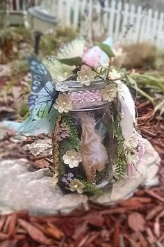 Captured Fairy in a jar / Altered jars mixed by BlueSilverVintage
