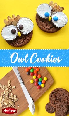 We can't take our eyes off these adorable owl cookies! Impress your family and friends with such a simple recipe. You'll need: Archway® Dutch Cocoa cookies and Fudge Brownie Dessert Thins, sliced almonds, colored candies, vanilla frosting. Directions: Spread frosting on top half of Dutch Cocoa cookie and two dessert thins. Place frosting-side of cookie face up on dutch cooca cookie. Stick sliced almonds into top half of cookie and use colored candies for eyes and nose. Enjoy!
