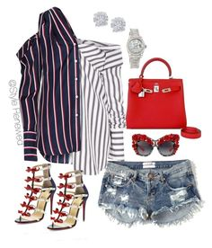 """Red. White and Blue"" by sherristylz on Polyvore featuring Abercrombie & Fitch, Hermès, Monse, Christian Louboutin, Dolce&Gabbana, Effy Jewelry and Rolex"