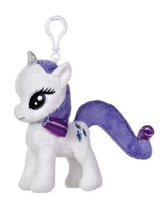 """4"""" Clip-On Rarity is a beautiful white unicorn with a dark purple mane and tail…"""