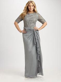 Tadashi Shoji, Salon Z - Lace-Bodice Gown - Saks.com