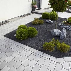 garden-design-on-driveway-vorgarten-make-care light . garden-design-on-driveway-vorgarten-make-care light . Front Yard Patio, Modern Front Yard, Front Yard Landscaping, Landscaping Ideas, Yard Design, Amazing Gardens, Garden Inspiration, Outdoor Gardens, Landscape Design
