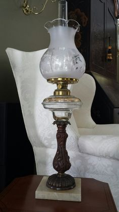 Early Kerosene L& - Transitional Period - Cabbage Rose Stem with Gold Gilt Font - ( & 4129 best Kerosene lamps from small to incredible images on ...