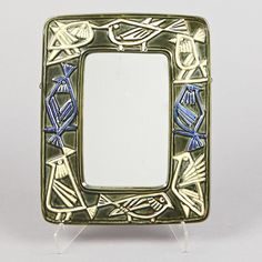 Lisa Larson; Glass and Glazed Ceramic Wall Mirror for Gustavsberg, 1950s.