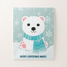 Puzzles For Kids, Games For Kids, Arctic Polar Bears, Holiday Cards, Christmas Cards, Christmas Jigsaw Puzzles, Make Your Own Puzzle, Custom Gift Boxes, Bear Cubs