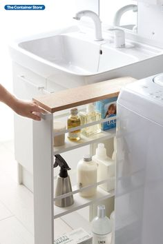 Tall, durable and sleek, this three-tier cart helps make the most of narrow spaces. Slide it between a washer and dryer to store laundry supplies. Roll it next to a kitchen counter to keep spices and staples close while you cook. Or for an easier cleaning day, create a rolling storage cart so you can wheel spray bottles and gear from room to room. Shelf guides keep contents upright. An unobtrusive top handle makes for effortless maneuvering. Small Space Organization, Storage Organization, Organizing, Laundry Cart, Rolling Storage Cart, Laundry Supplies, The Home Edit, Cleaning Day, Container Store