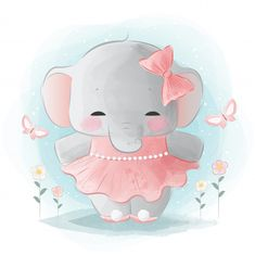 Cute animals with watercolor effect Cute Drawings, Animal Drawings, Baby Love Quotes, Baby Posters, Cute Little Animals, Cute Elephant, Animal Faces, Baby Art, Mask For Kids