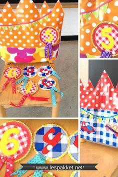 Jarig zijn: verjaardagstroon - Lespakket - thema's, lesideeën en informatie - onderwijs aan kleuters Birthday Chair, Happy Birthday, Diy And Crafts, Crafts For Kids, Felt Crown, Paper Clip, Creative Kids, Sewing For Kids, Sewing Projects