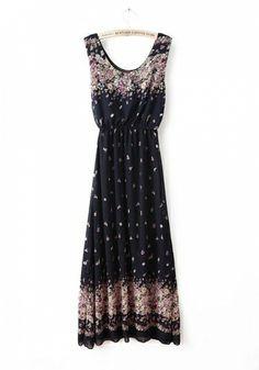 Fashoin Enchating Fashionable Dizzying Navy Chiffon round neck Sleeveless Print Fashion Dresses