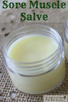 DIY Sore Muscle Salve ~ A great homemade muscle rub using essential oils is an ideal way to ease your pain while utilizing natural ingredients.  Instead of putting harsh chemicals on your skin, whip up a batch of this DIY sore muscle salve to have on hand for aches and pains!