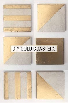 This is such a quick and fun DIY make and it& a great way to use up leftover tiles (we all have some of those lurking at the back of a cupboard somewhere& I recently found this stack& Gold Coasters, Diy Coasters, Concrete Crafts, Concrete Projects, Ceramic Tile Crafts, Gold Diy, Leftover Tile, Ramadan Decoration, Diy And Crafts
