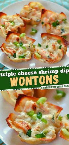 Serve this New Year's Eve food at your party! Nothing lets you have a taste of pure heaven like these Triple Cheese Shrimp Dip Wontons. Make the filling ahead and be ready to stuff these delicious appetizers before the guests arrive! Save this easy recipe and try it! Finger Food Appetizers, Healthy Appetizers, Appetizer Recipes, Dinner Recipes, Delicious Appetizers, Party Recipes, Snack Recipes, Seafood Dishes, Seafood Recipes