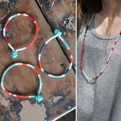 DIY Painted Cotton Utility Rope Kids' Jewelry Tutorial from Family Chic here.This is a cheap but good summer camp craft.