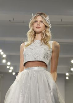 "THEIA Spring 2015 ""Haven"" Silver floral jacquard crop top with tulle over lamé ball skirt"