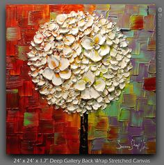 ORIGINAL blancos Lollipop árbol óleo por ModernHouseArt en Etsy